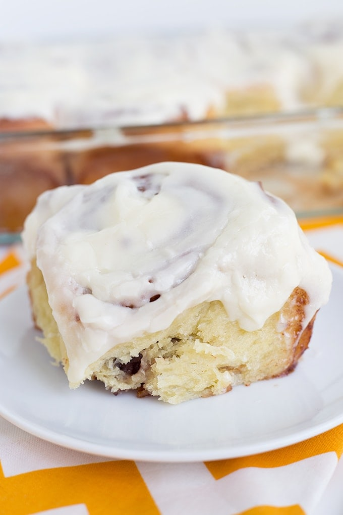 These homemade cinnamon rolls are so soft & gooey and baked to a golden brown perfection before being smothered in cream cheese frosting. I can't imagine breakfast without them!