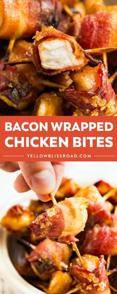 Bacon Wrapped Chicken Bites are the sweet and savory snack that your friends will fight over! These little guys are deliciously addictive and perfect for game day!!