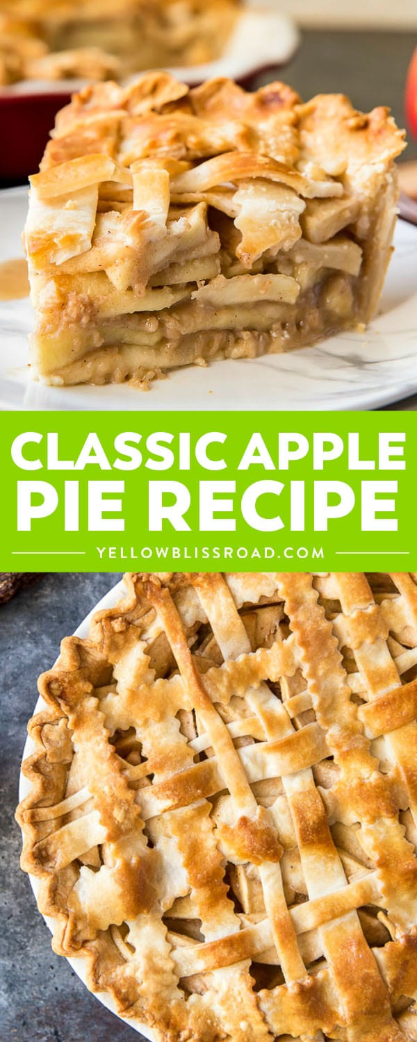A flaky, delicious Classic Apple Pie Recipe is perfect for dessert all year round! Slightly crunchy cinnamon & caramel-coated apples are tucked into a homemade pie crust and baked into the prettiest dessert on the block!