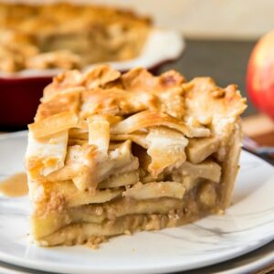 A close up of a slice of Apple Pie