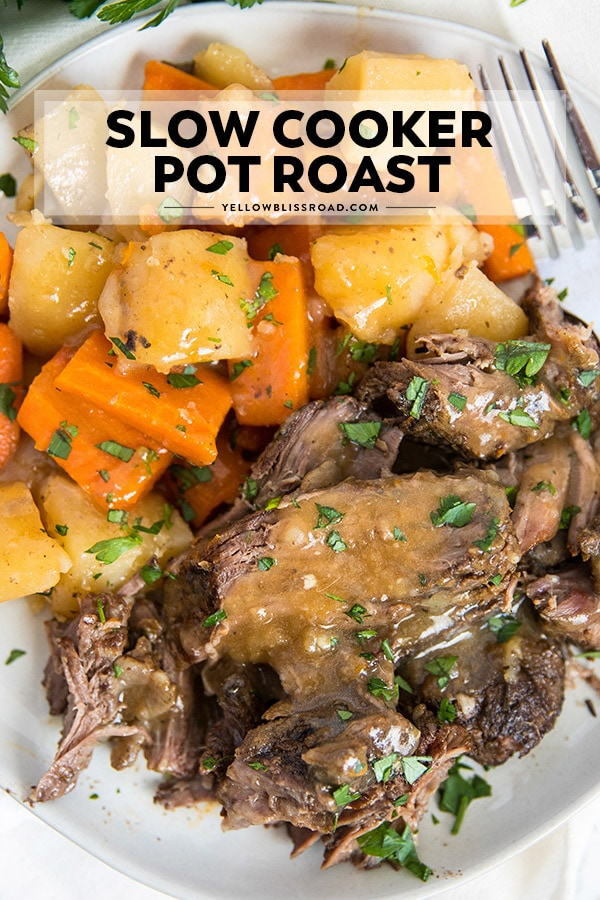 Sloe cooker pot roast with text overlay