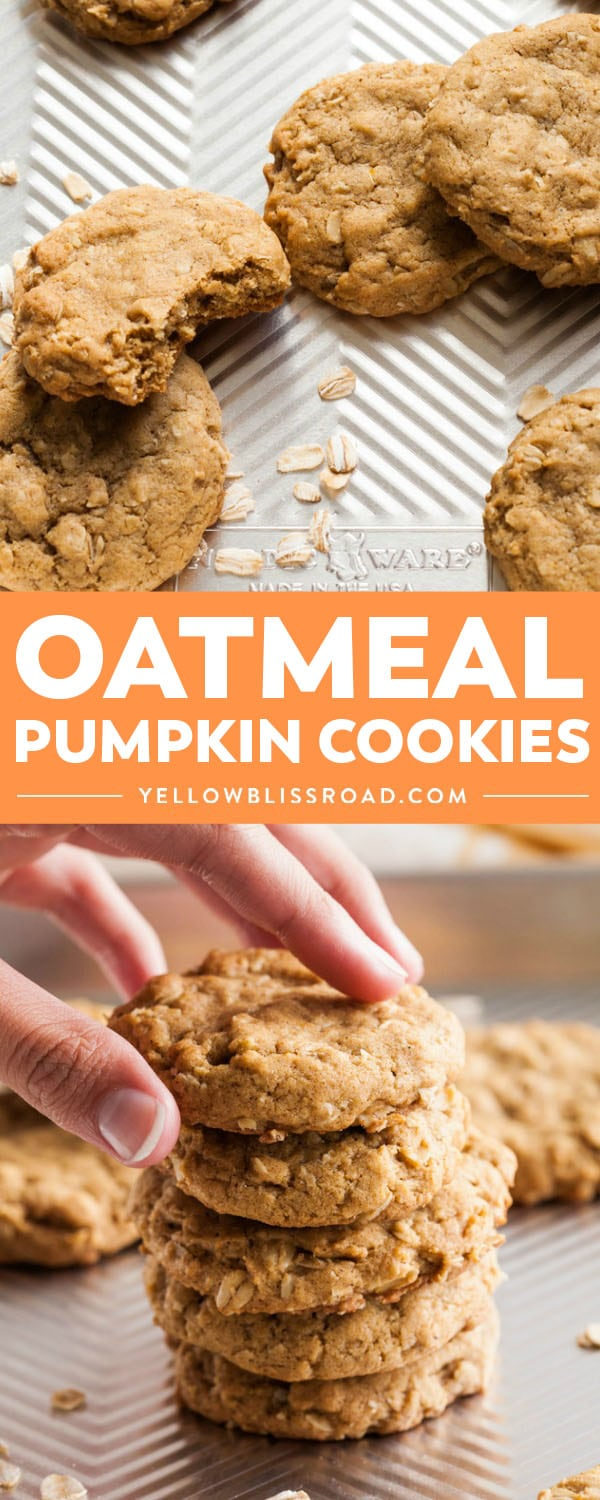 The perfect oatmeal cookie made with pumpkin and all your favorite spices for Fall! Tender and chewy without being fluffy (like traditional pumpkin cookies), these Oatmeal Pumpkin Cookies will be a hit all season long!