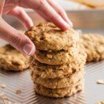 A stack of oatmeal pumpkin cookies