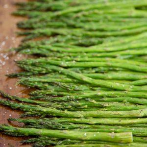 Roasted asparagus on a pan