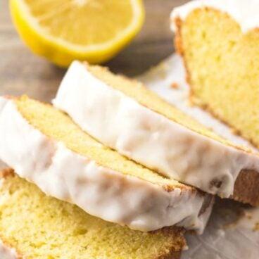 Sweet lemon bread, sliced, with lemon glaze.