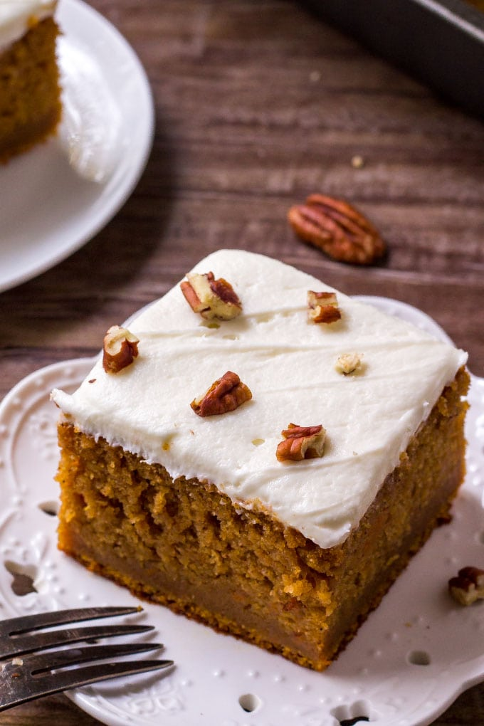 Southern sweet potato cake is a moist spice cake that's topped with marshmallow frosting.
