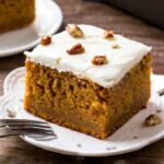 A close up of Sweet Potato Cake with Marshmallow Frosting