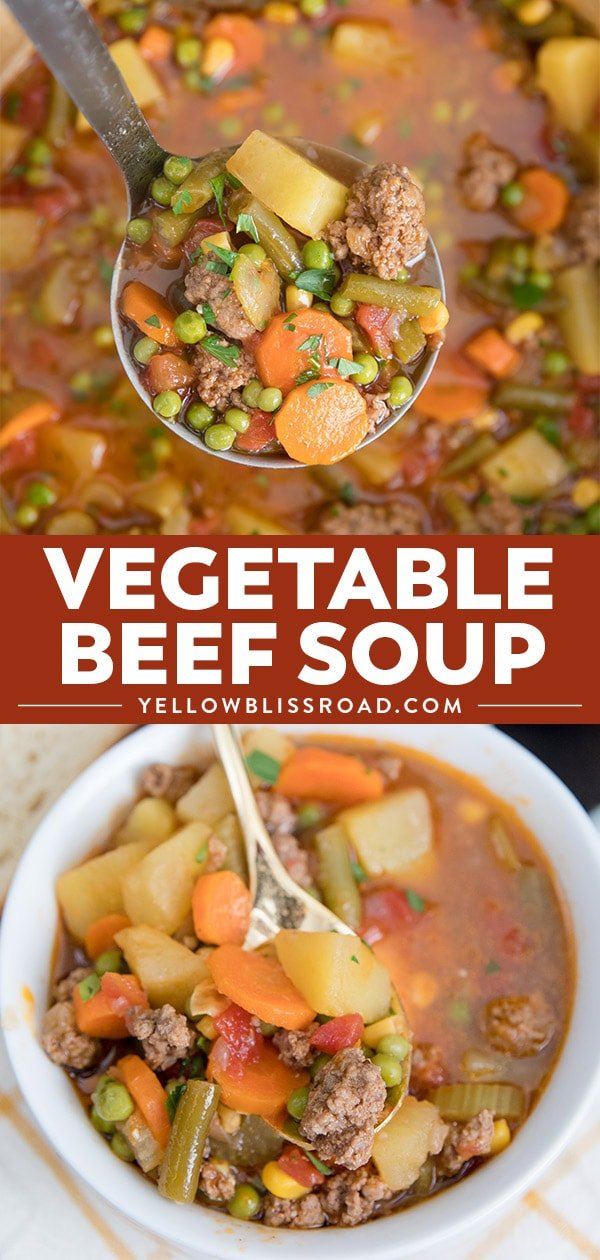 Smoky Vegetable Beef Soup collage with two images