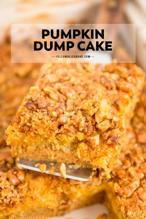 pumpkin dump cake pinnable image with text