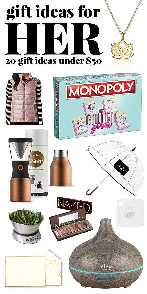 Christmas gifts for her under $50 collage