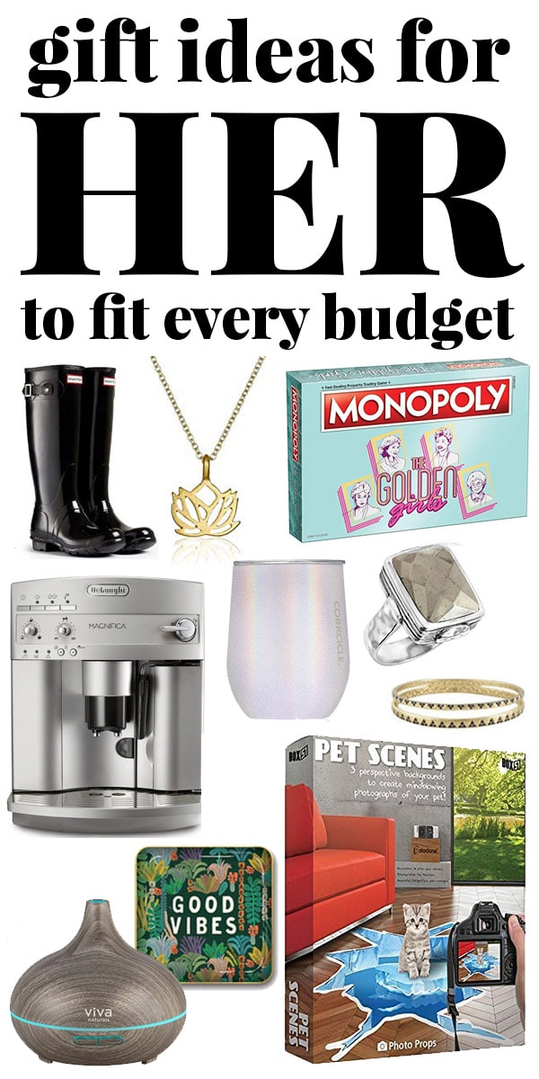 Christmas gift ideas for her to fit any budget - collage of gifts for her.