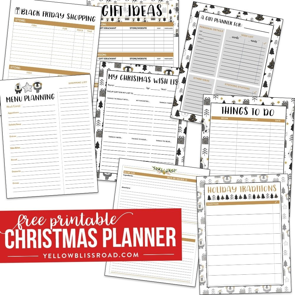picture about Free Christmas Planner Printables titled Xmas Cost-free Printables - Yellow Bliss Highway