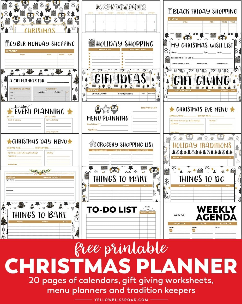 Free Printable Christmas Planner collage