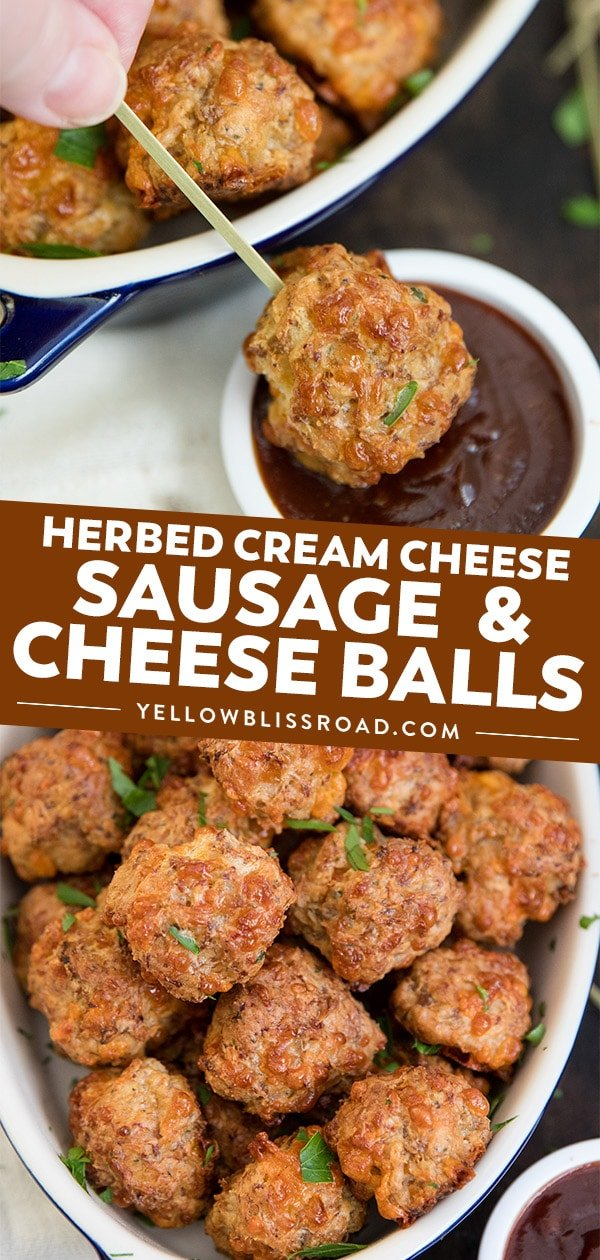 Cream Cheese Sausage Balls (Bisquick Sausage Balls) collage