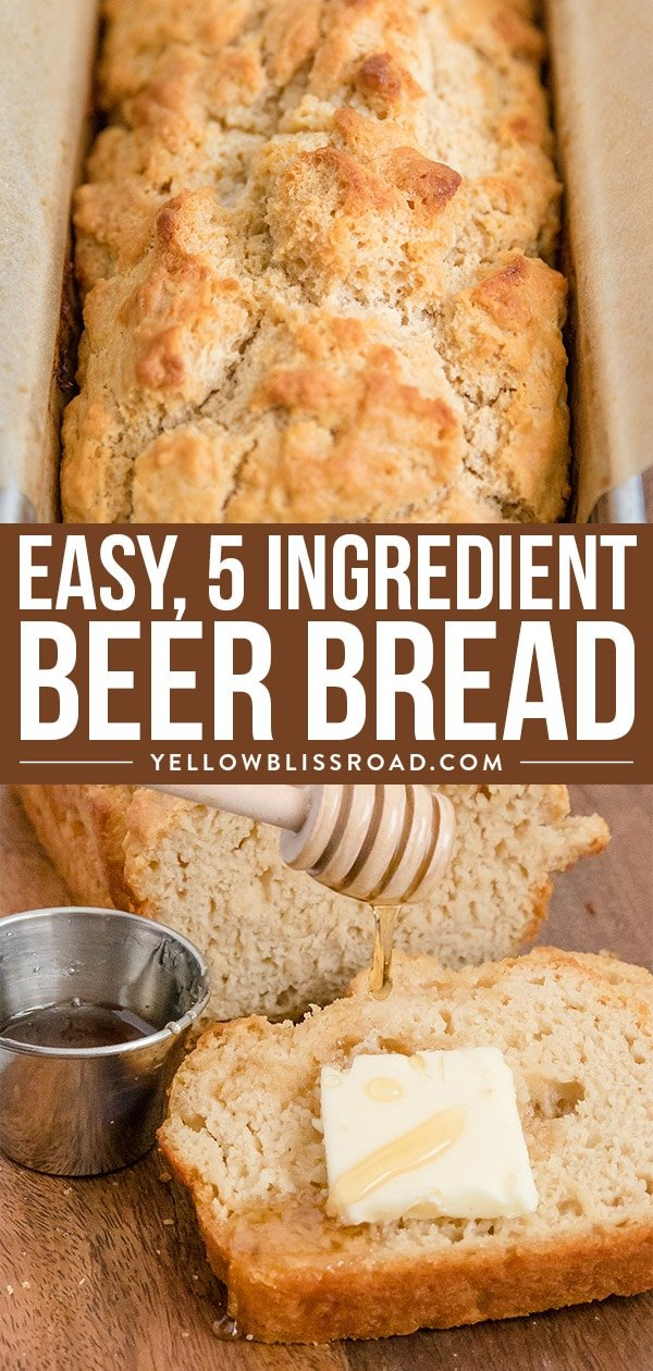Beer Bread recipe collage with 2 photos.