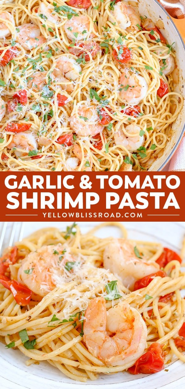 Garlic Shrimp & Tomato Spaghetti is an easy to whip up shrimp pasta dinner and a delicious weeknight meal that takes just minutes to prepare. It's sure to be a new favorite!