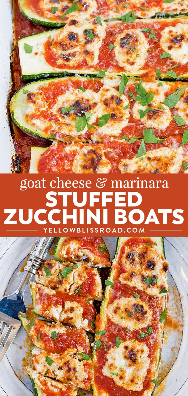 Social media image of Goat Cheese Marinara Zucchini Boats