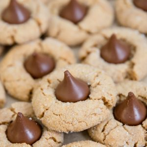 Close up of Peanut Butter Blossom cookies