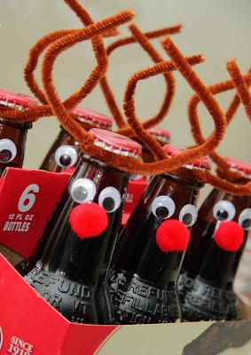 Root beer dressed up like reindeer