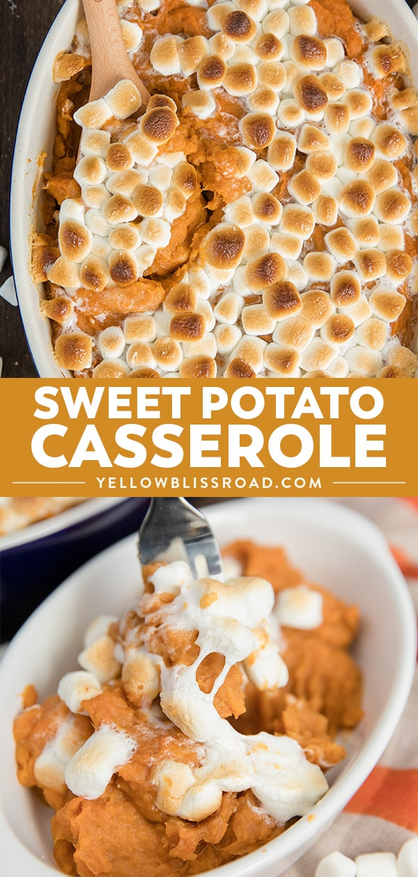 Sweet potato casserole recipe photo collage with text.
