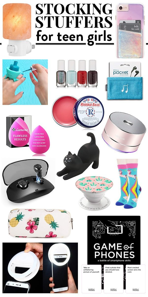 Stocking Stuffers for teen girls collage.
