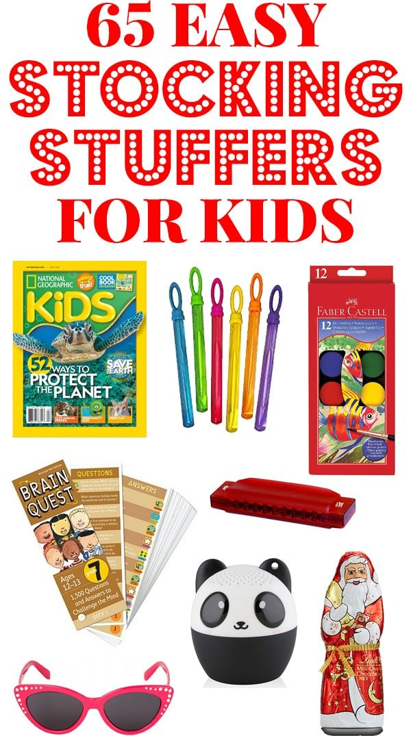 Stocking Stuffer Ideas for kids collage.