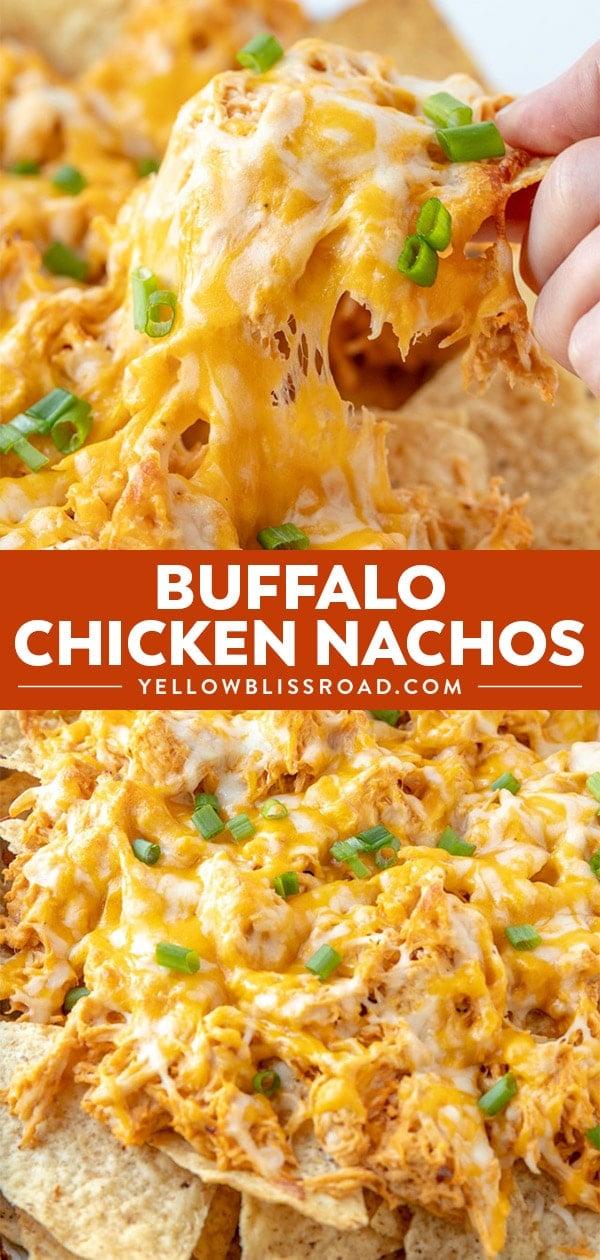 Buffalo Chicken Nachos collage.