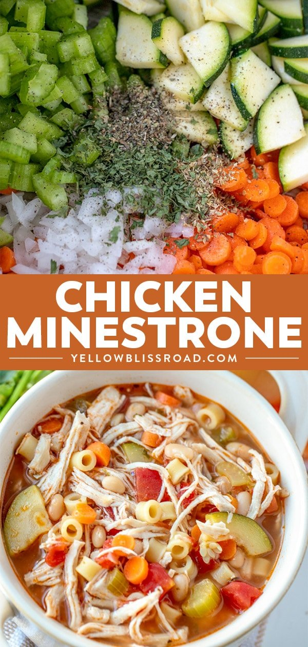 30 Minute Chicken Minestrone Soup recipe collage