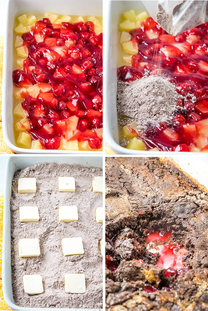 A collage of photos depicting how to make a chocolate cherry dump cake.