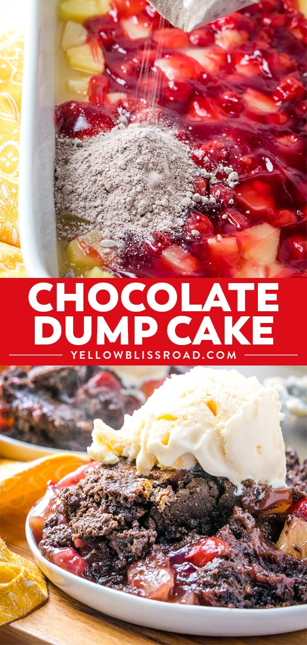 Chocolate Cherry Dump Cake recipe collage