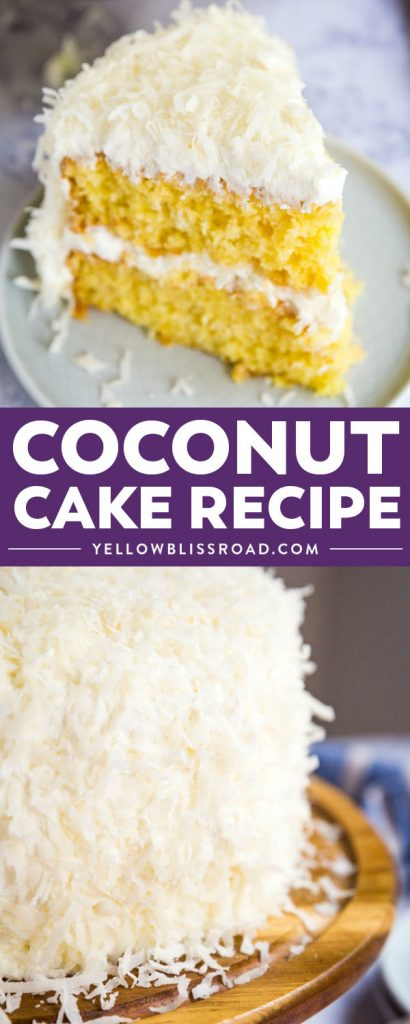 This perfectly moist Coconut Cake will be your new favorite cake for entertaining! No one will ever know it's made by hacking a boxed cake mix!
