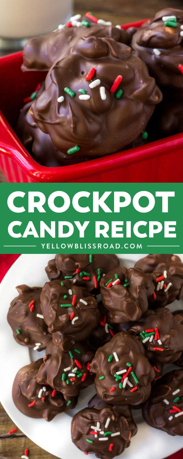 This easy Crockpot Candy is creamy, chocolatey and filled with crunchy peanuts for a salty-sweet treat. Made in the slow cooker with only 4 ingredients! #YellowBlissRoad #crockpot #slowcooker #chocolate #peanuts #candy #christmas