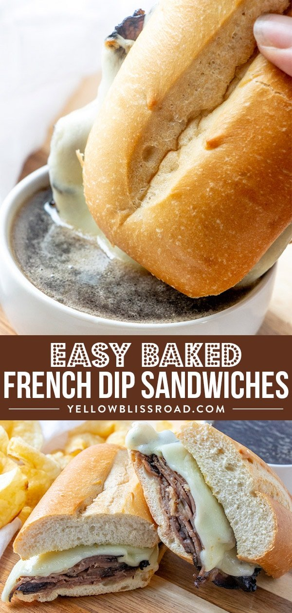 Easy Baked French Dip Sandwiches collage