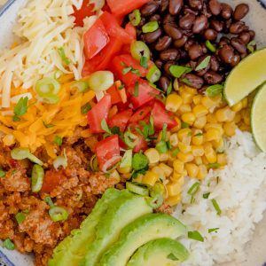 Plate filled with ground turkey taco bowl