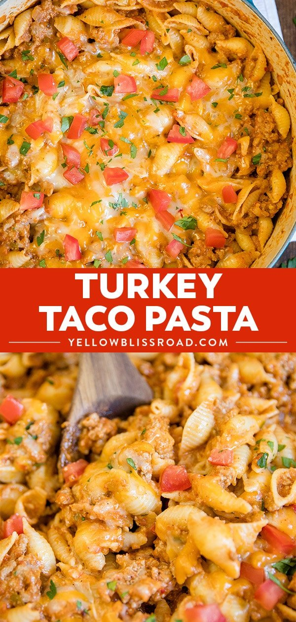 A collage of images of ground turkey taco pasta.