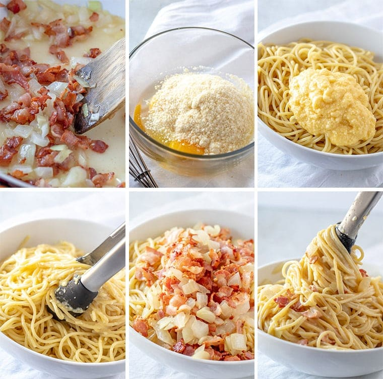 A collage of step by step ingredients and how to make pasta carbonara.