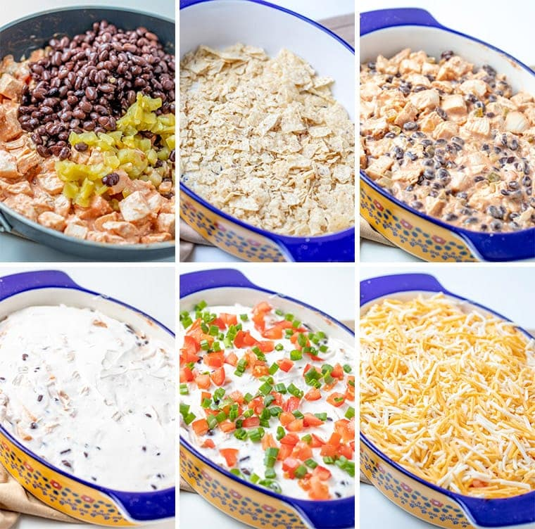 collage of images showing the steps for making mexican chicken casserole