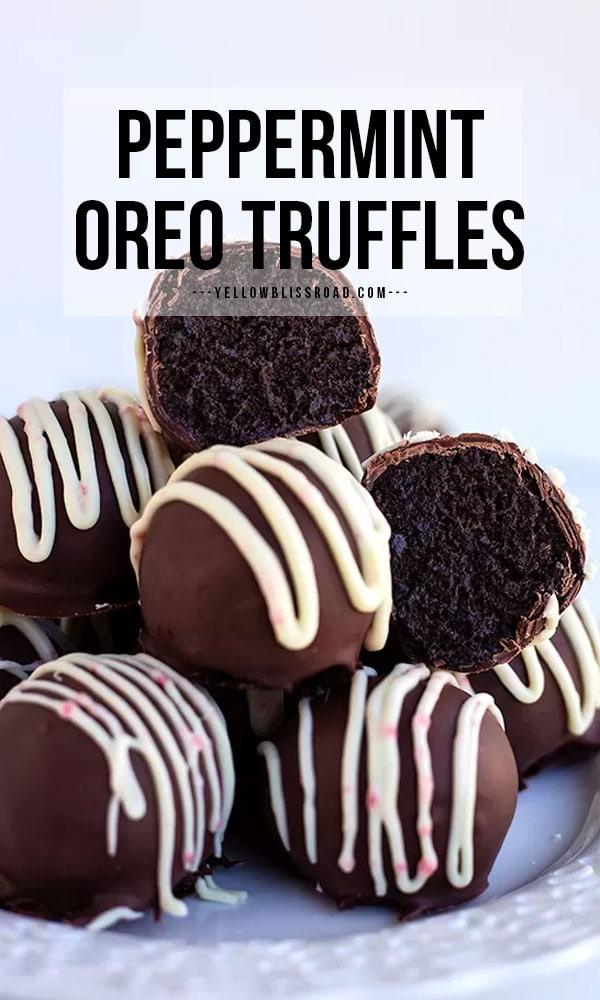 Peppermint Oreo Truffles pinterest friendly image