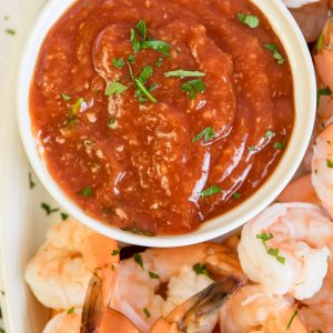 Social media image of Shrimp and cocktail sauce