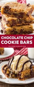If you like chocolate chip cookies that are soft, chewy & extra thick - then you need to try these chocolate chip cookie bars. Quick, easy & feeds a crowd!