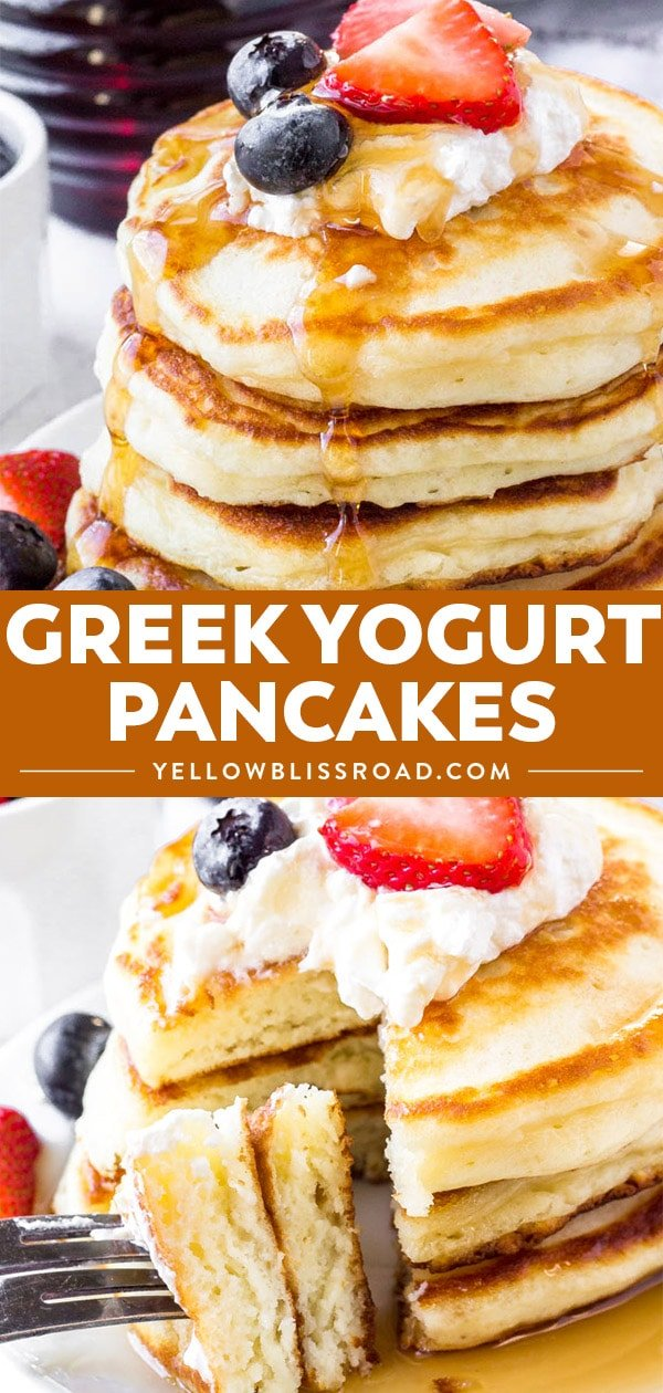Greek Yogurt Pancake Recipe photo collage.