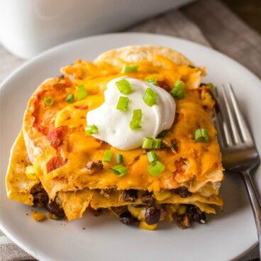 A plate of Mexican Lasagna