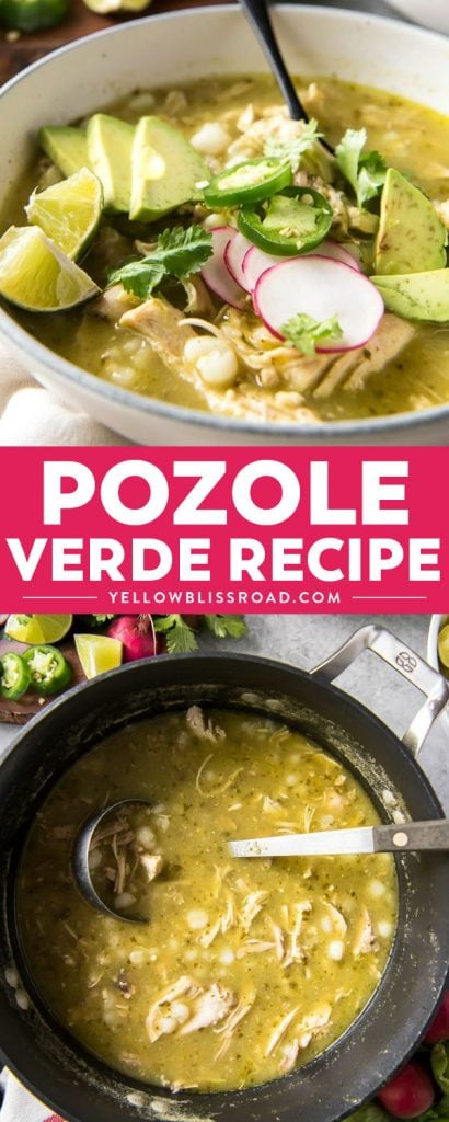Hearty and comforting, this spicy Pozole Verde is made with slow cooked shredded chicken, hominy, and a spicy tomatillo and pepper blend!
