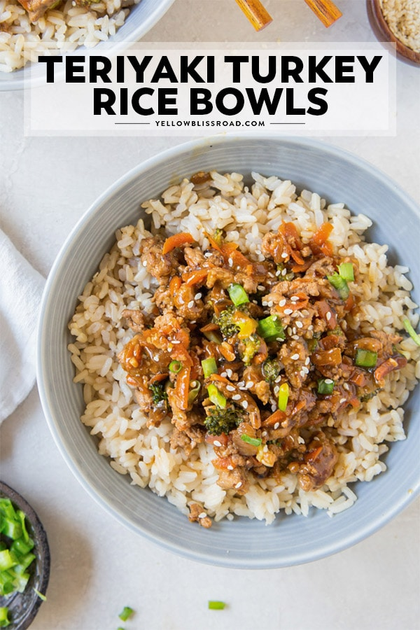 Ground turkey teriyaki rice bowl pinnable image with text