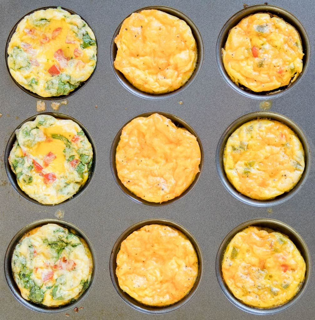 A photo of 9 egg muffins in a muffin pan.