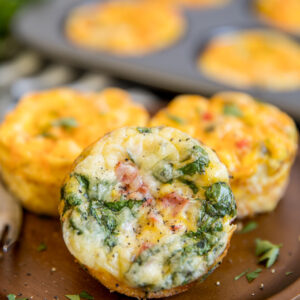 A close up of baked Egg Muffins