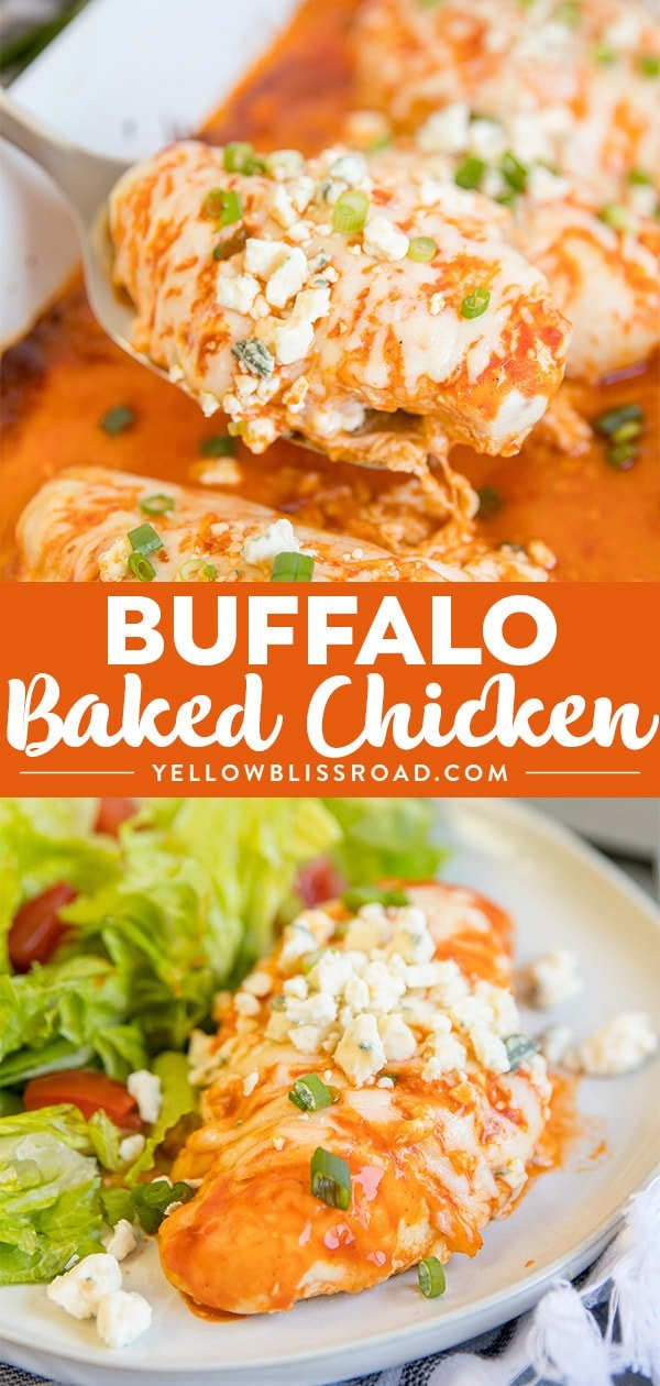 Baked Buffalo Chicken Breasts with two photos in a collage.