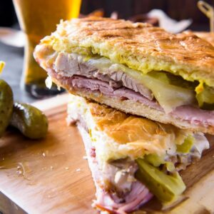 A Cuban sandwich cut in half