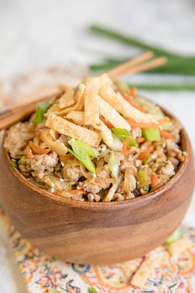 Egg Roll Bowl in a wooden bowl with chopsticks