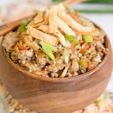 A dish filled with Egg Roll in a Bowl